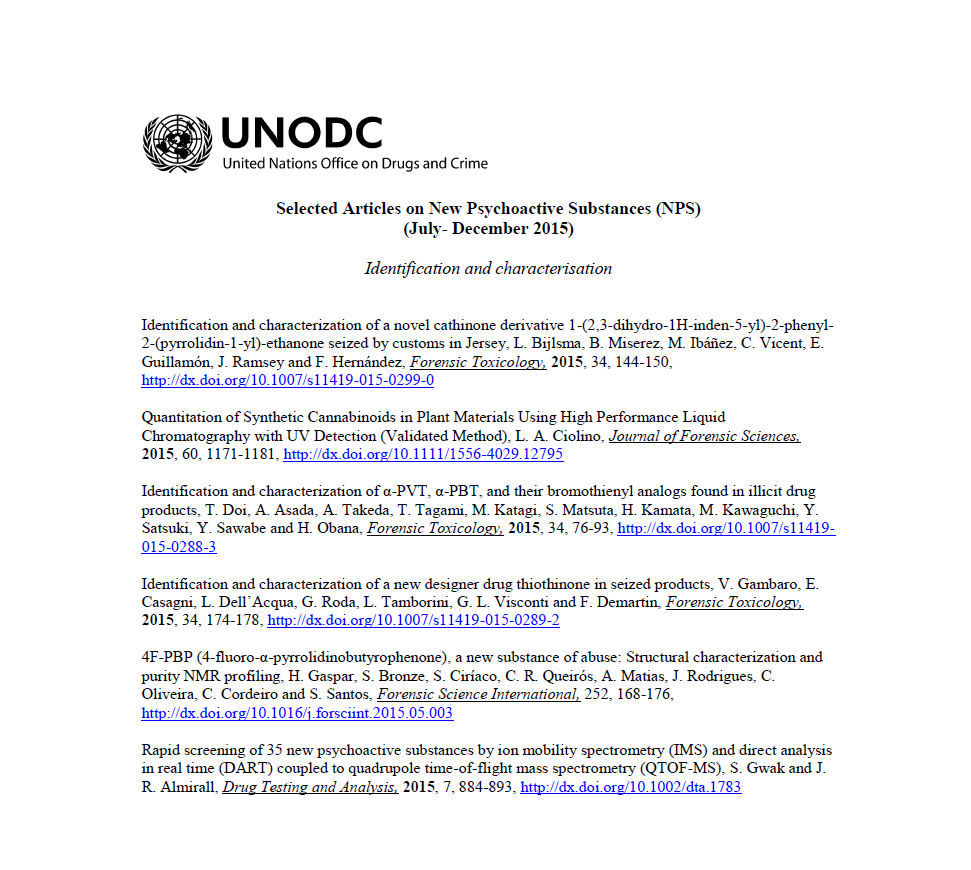 News February 2016 Unodc Selected Articles On New Psychoactive Substances Nps Now Available Online