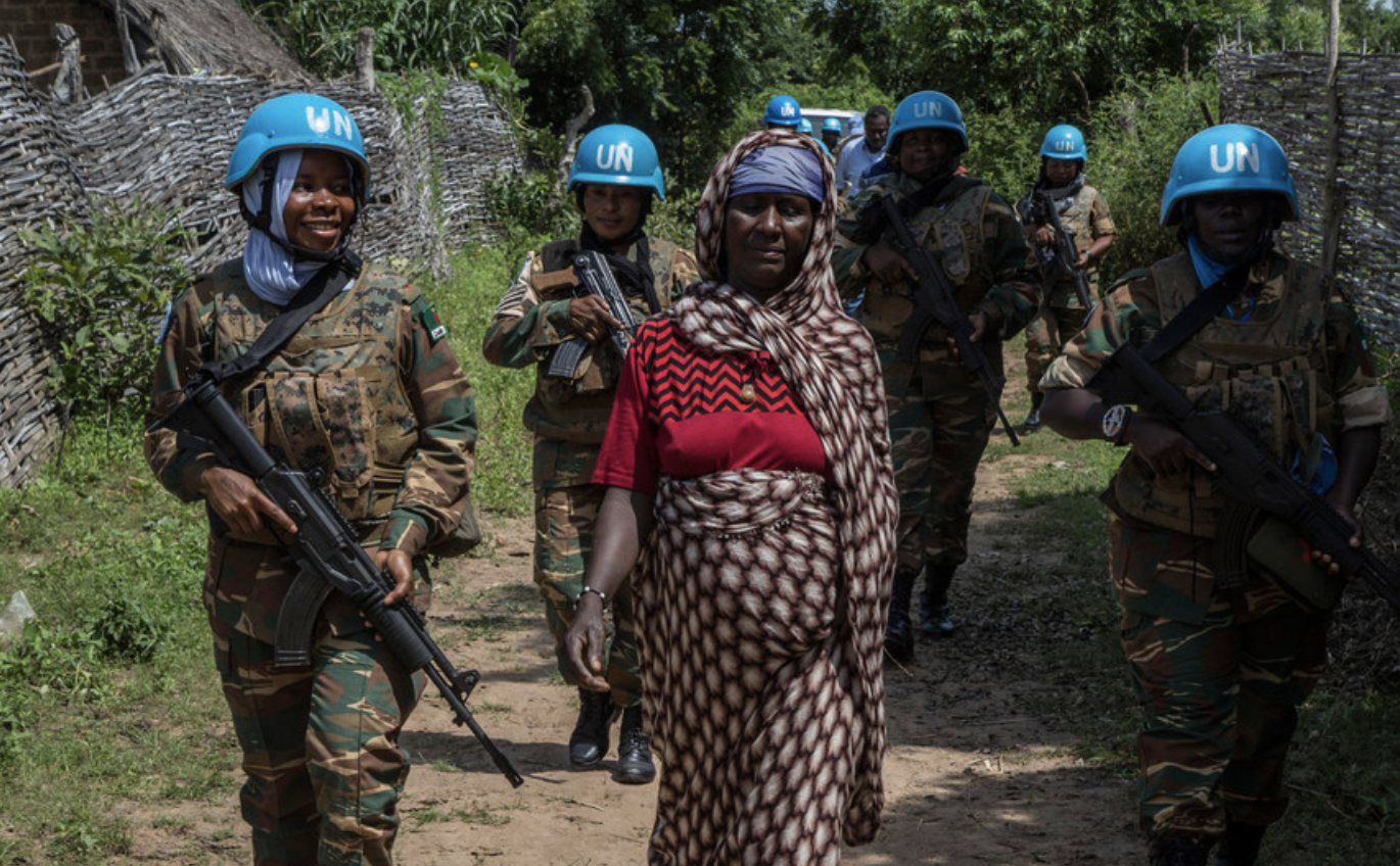 Female UN Peace Keeping Officers          with blue helmets