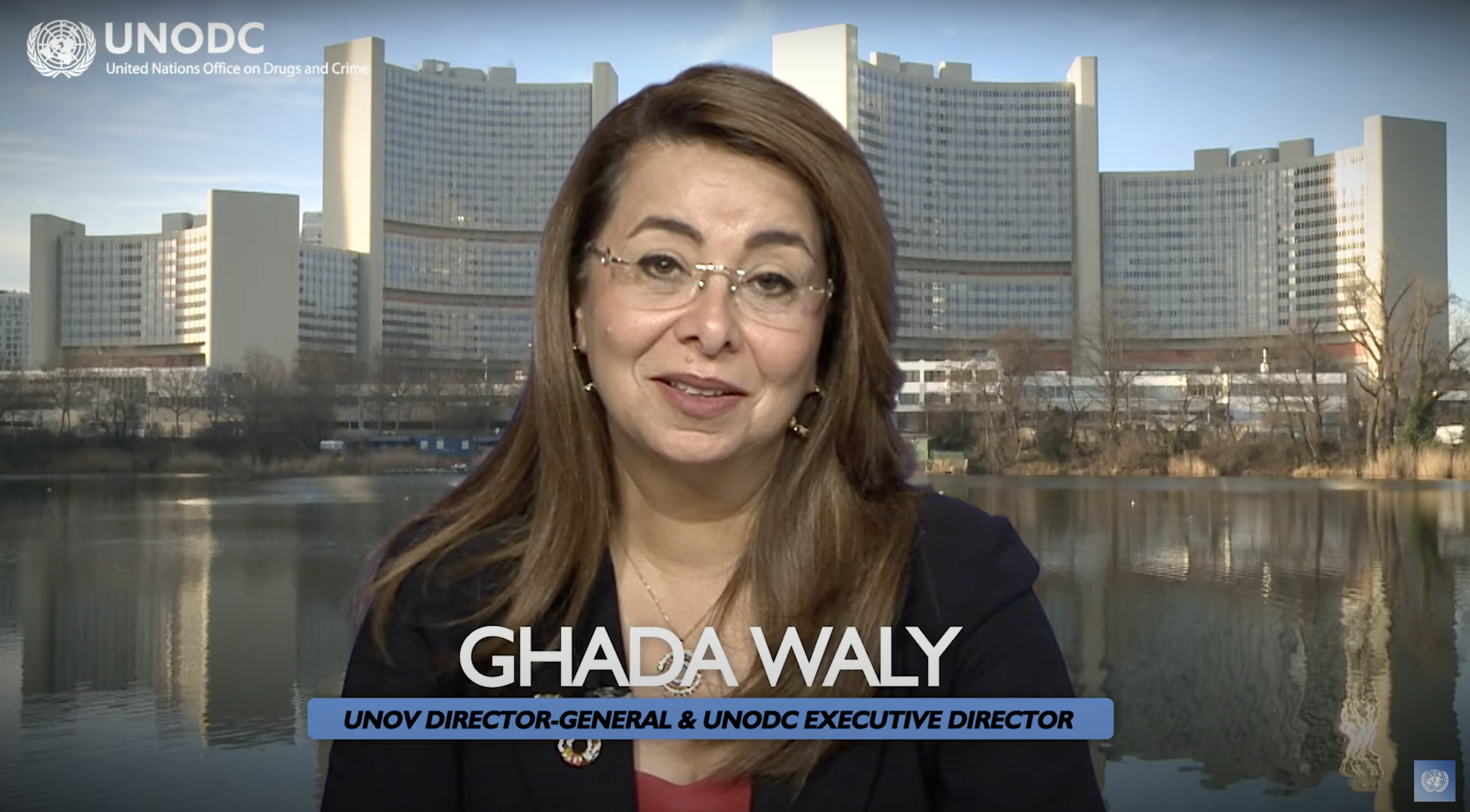 Screenshot of Speech of          Ghada Waly, Director General of UNOV / Executive Director of UNODC