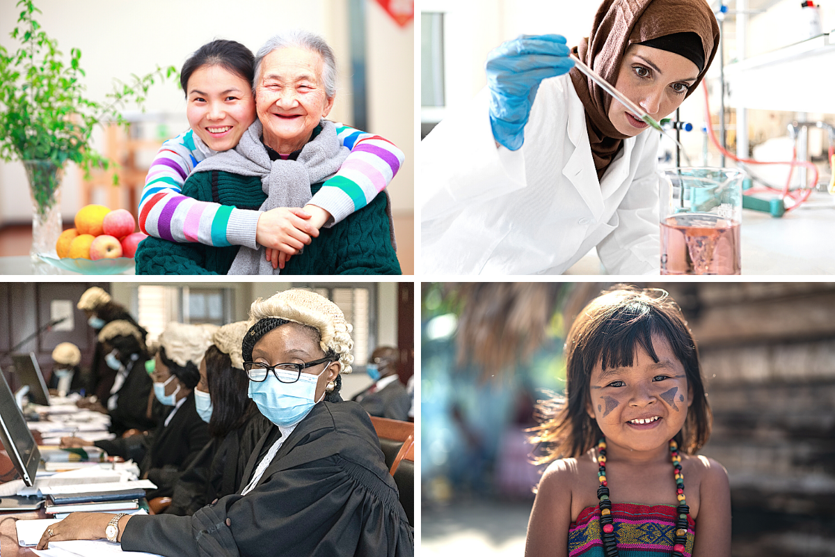 4 pictures, Young girl with old woman, young woman in a          laboratory, woman with mouth-nose protection, young child