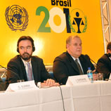 Photo: DPI: Opening Press Briefing, John Sandage, Executive Secretary of the Congress and Officer-in-Charge of the Division for Treaty Affairs UNODC (left) and Luiz Paulo Teles Ferreira Barreto, President of the Congress and Minister of Justice, Brazil