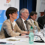 Photo: UNIS: UNODC panelists Fabienne Hariga (left) and Christian Kroll at the press conference
