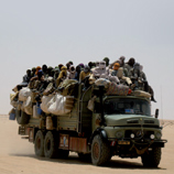 Sub-Saharan migrants leaving Agadez (Niger) in order to reach the Libyan Arab Jamahiriya. Photo: SID and CeSPI.