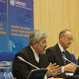 Photo:UNODC:Chairman of the 53rd Session of the Commission on Narcotic Drugs, H.E. Ambassador Ali Asghar Soltanieh (left) with UNODC Executive Director Antonio Maria Costa (right)