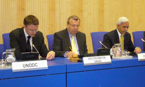 Photo: UNODC: Lef to right - Jeremy Douglas, UNODC Representative for Pakistan; Yury Fedotov, UNODC Executive Director and Secretary of the Ministry of Narcotics Control of Pakistan, Iftikhar Ahmed