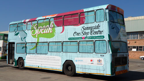 South African bus with message on domestic violence