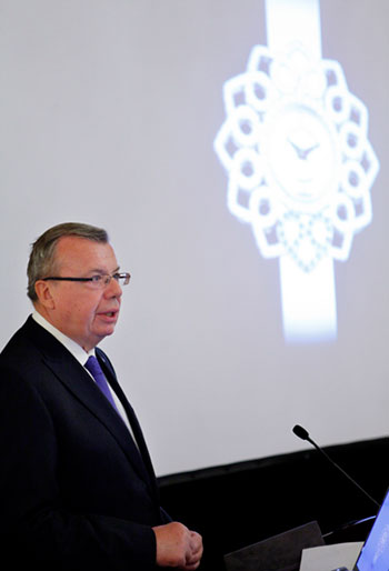 Photo/UNIS Geneva: UNODC Executive Director Yury Fedotov speaks at the launch of the Victoria Blue Heart watches in Geneva