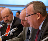Photo: OSCE/ R-L: Yury Fedotov, UNODC Executive Director; Thomas Wuchte, Head of OSCE Anti-Terrorism Issues; and OSCE Secretary General Lamberto Zannier, during a conference on improving the control of explosive substances, Vienna, 10 May 2012