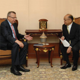 Thai Deputy Prime Minister and Minister of Foreign Affairs, Dr. Surapong Tovichakchaikul, right, meets UNODC Executive Director Yury Fedotov at his office in the Ministry of Foreign Affairs.