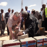 UNODC Executive Director Yury Fedotov (left) with Puntland President Farole (right) laying foundation stones of Garowe prison
