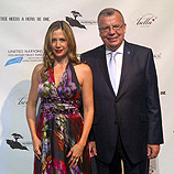 "Photo: UNODC Executive Director Yury Fedotov with UNODC Goodwill Ambassador Mira Sorvino at the preview screening of ""Trade of Innocents"" in New York"