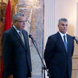 UNODC Executive Director Yury Fedotov (left) addresses the press with Mr. Ivan Brajović, Minister of Interior for Montenegro