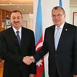 President Ilham Heydar oglu Aliyev of the Republic of Azerbaijan visited the United Nations Office in Vienna (UNOV). In a meeting with Yury Fedotov, the Director General of UNOV, who is also the Executive Director of the UN Office on Drugs and Crime, the President showed great interest in the work of both organizations. Azerbaijan has maintained an active role in international affairs since it was elected as a non-permanent member of the UN Security Council for 2012-2013.