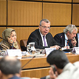 High-Level Meeting of Partners for Afghanistan and Neighbouring Countries in Vienna, jointly chaired by UNODC Executive Director, Yury Fedotov (c.), Salamat Azimi, Afghan Minister of Counter Narcotics (l.), and Nicholas Haysom, Special Representative of the Secretary General for Afghanistan and head of the UN Assistance Mission in Afghanistan. Photo: UNODC