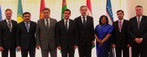 Representatives of the Kyrgyz Republic, the Republic of Tajikistan, Turkmenistan, the Republic of Kazakhstan, the Republic of Uzbekistan and UNODC at the signing of the 2015-2019 Central Asia Programme of partnership. Photo: UNODC