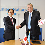 Yury Fedotov, UNODC Executive Director, with the Permanent Representative of Japan to the United Nations in Vienna, Ambassador Mitsuru Kitano. Photo: UNODC
