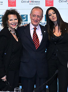 From left: Claudia Cardinale, Mr. Costa, Monica Bellucci