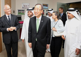 Secretary-General Ban at the GSF offices in Doha