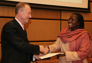 African Union Commissioner for Social Affairs Ms. Bience Gawanas and UNODC Executive Director Antonio Maria Costa