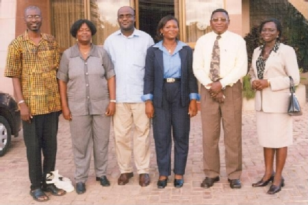 From left to right, UNODC expert Mr Babacar Ndiaye, Ms Patience Quaye and colleagues cooperate to build capacity against human trafficking