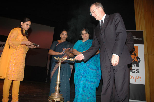 Traditional lighting the lamp ceremony to begin the event