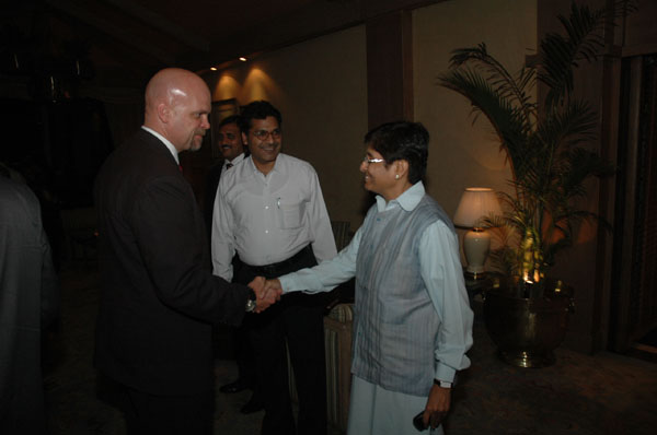 Mr. Gary Lewis with Kiran Bedi at Taj Mansingh, New Delhi