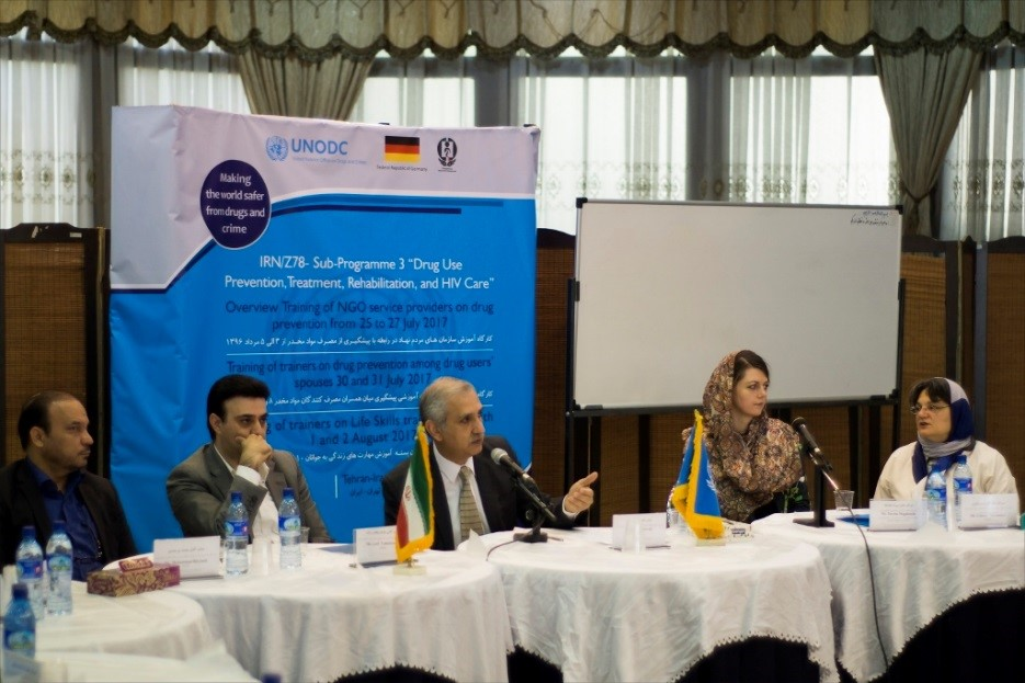 Opening ceremony: Mr. Mohammad Birjandi, Director General of the Civil society Organisations and Public Participation Department of DCHQ, first from left; and Ms. Dorotha Magdalena Berezicki, First Secretary of the Embassy of the Federal Republic of Germany, second from right