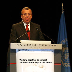 UNODC Executive Director Yury Fedotov addressing the high-level segment of the 5th session of the Conference of the Parties to the United Nations Convention against Transnational Organized Crime