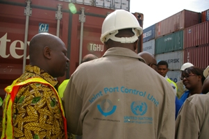 Staff trained by joint UNODC/WTO container control program, Port Tema , Ghana.