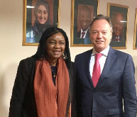 Mr Aldo Lale-Demoz, Deputy Executive Director/Director of Division for Operations, meets H.E. Prof. Hlengiwe Mkhize, Minister of Home Affairs of South Africa