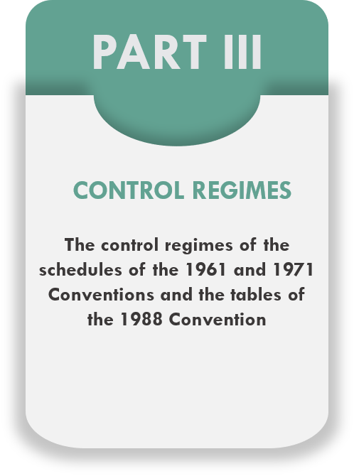 Part III - Control Regimes - The control regimes of the 1961 and 1971 Conventions and the tables of the 1988 Convention