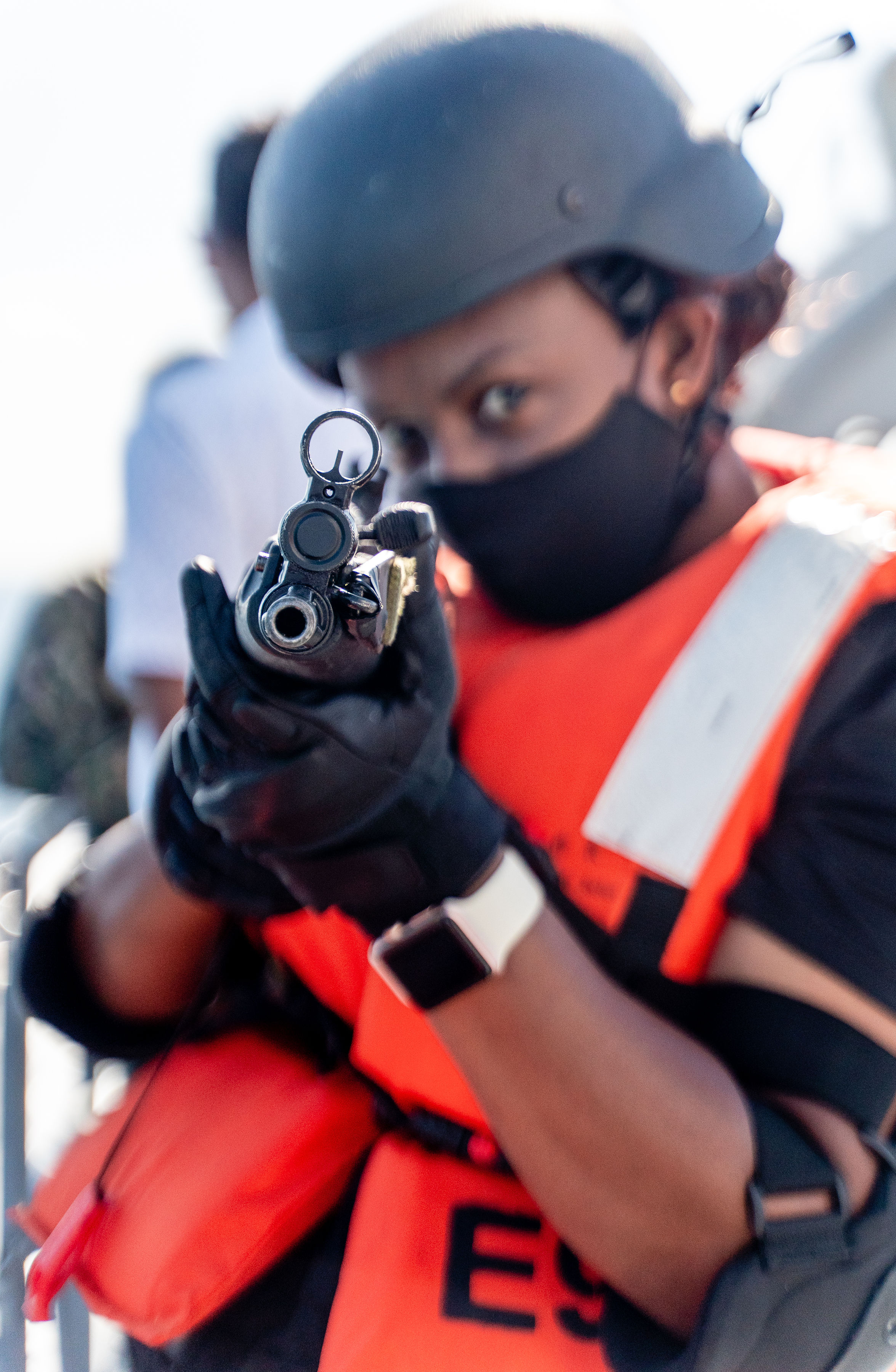 <p>Close up of a female maritime law enforcement officer during a training in Hulhumale, Maldives.</p>