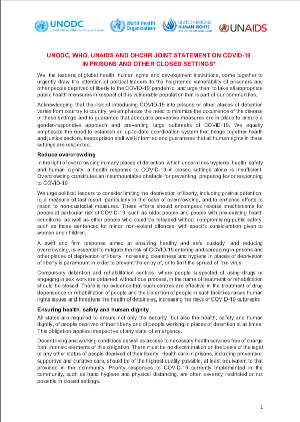 "<div style=""text-align: center;"">UNODC, WHO, UNAIDS and OHCHR Joint Statement on COVID-19 in Prisons and Other Closed Settings 