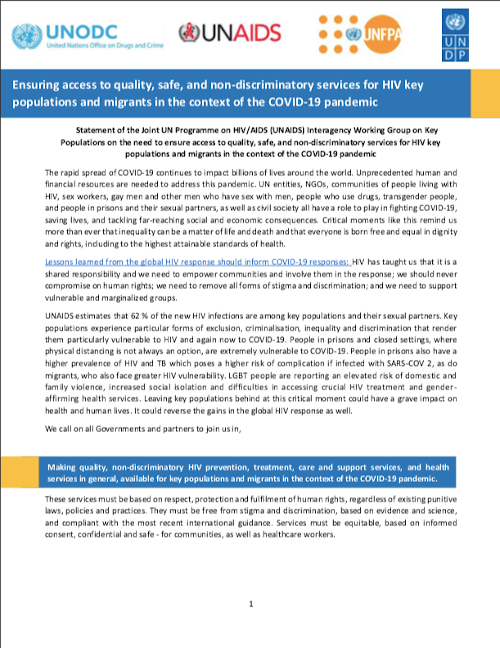 "<div style=""text-align: center;"">Statement of the Joint UN Programme on HIV/AIDS (UNAIDS) Interagency Working Group on Key Populations on HIV services in the context of COVID-19 